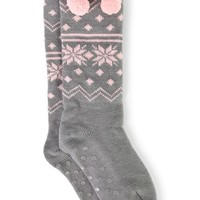Cable Knit Fair Isle Print Sock with Pom Poms