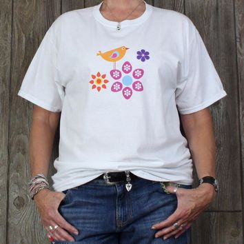 Cute New White Multi Color Tee Shirt L XL size Fruit of Loom Bird Floral Casual Top