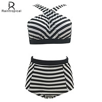 Plus Size Swimwear High Waist Swimsuit High Neck Bikini