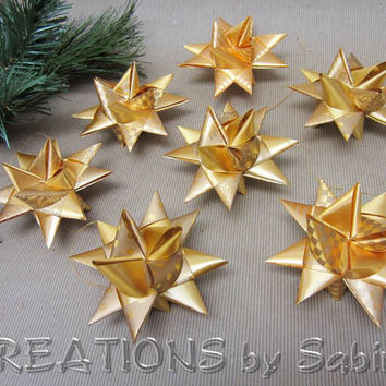 Christmas Star Ornaments Set of 7 / Gold German Moravian Advent Christmas Danish Swedish Ribbon Paper Origami 3D Stars / READY TO SHIP (26)