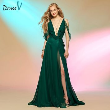 Dressv hunter green ruffles long prom dress v neck a line backless chiffon formal evening party dresses split front prom dress