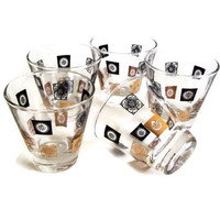 Mid Century Barware Shot Glasses Retro Gold and Black Set of 5