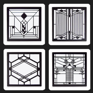 Frank Lloyd Wright Metal Insert Coaster Set 6