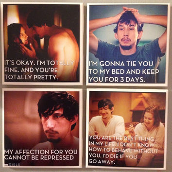 Hbo Girls Coasters, Tv series, Hannah Horvack, Adam driver, funny quotes, Lena Dunham, Oh em gee, wednesday night baby, hannah and adam