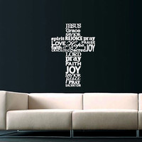 Cross Jesus Christ Wall Decal Religion Prayer Writing Decals Wall Vinyl Sticker God John Psalm Quote Bible Home Decor Art Bedroom SV5870