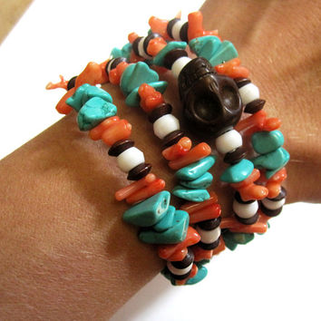 Sugar Skull Bracelet Day Of The Dead Jewelry Turquoise Blue Coral Orange White