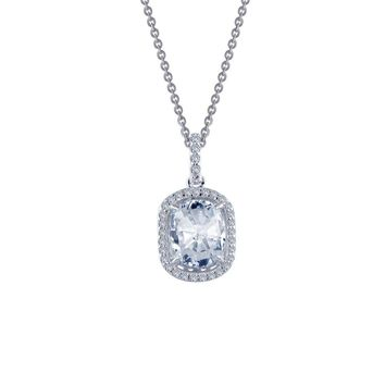 Lafonn Rhonda Faber Green Sterling Silver Platinum Plated Lassire Simulated Diamond Necklace (2.29 CTTW)
