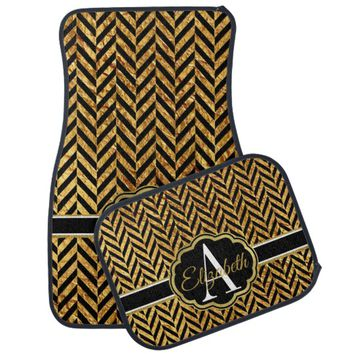 Black & Faux Gold Herringbone Monogram Car Floor Mat