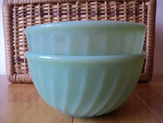 Fire King Jadeite Oven Ware Bowls Swirled From Cape Cats