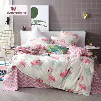 SlowDream Pink Flamingos Bedding Set 3D Double Bed Sheet Comforter Duvet Cover Bedspread Bedclothes Adult Queen King Size Linens