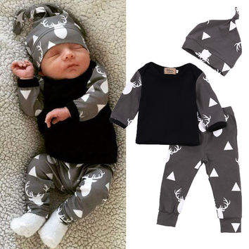 2af3d43e5c12 Cute Newborn Baby Girl Boy Clothes Deer Tops T-shirt Long Sleeve + Pants  Casual