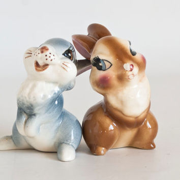 Vintage 1940s Bambi Figurines, Thumper and Girlfriend Rabbit Ceramic Figures, Disneyana American Pottery Collectible