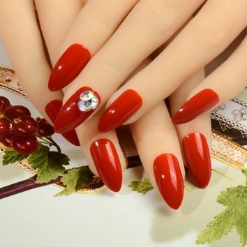 Drill AB rhinestone Bling Nail Art False Red Pointed Soft fake stiletto nails full cover