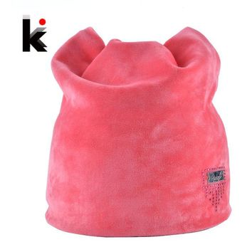 DCCKJG2 2016 Winter Beanie Hat Ladies Cat Girls Hats For Women Beanies Fluff Caps Russia Skullies Touca Cap With Ear Flaps