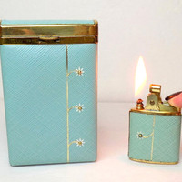 1950s Lighter & Cigarette Case Set, Buxton Baby Blue Vinyl Wrapped with Daisy Accents, Holds Filtered Cigarettes, Working, Hardcase, Pocket