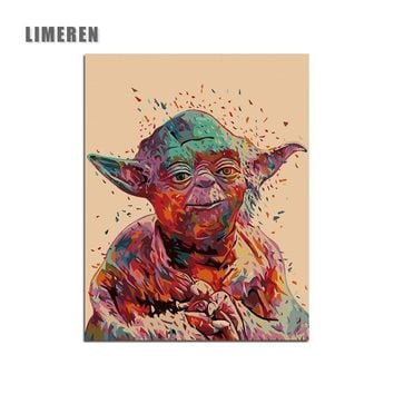 Star Wars 7 Yoda Minimalist Art Canvas Painting By Numbers Movie Wall Picture Print Home Bedroom Decoration