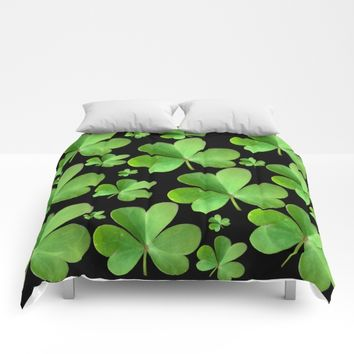Clovers on Black Comforters by UMe Images