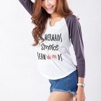 Funny T Shirts Mermaid Top Sweatshirt Weed TShirt Slogan Tee Shirt Cute Baseball Shirts Teen Fashion Tumblr Instagram Teenager Gifts Clothes