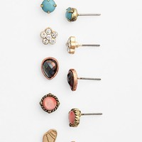 Junior Women's BP. Dainty Stone Stud Earrings (Set of 6)