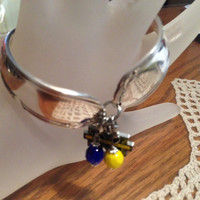 "Vintage Silver Plated ""U Of M"" Flatware/Silverware/Spoon Bracelet With ""Michigan"" Charm and Blue and Yellow Bangle"