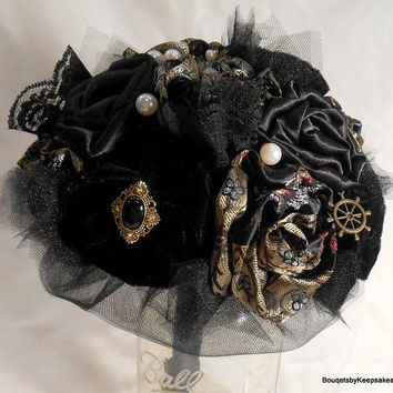 Custom Steampunk Bouquet in Velvet and Brocade Fabric
