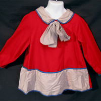 Vintage 50s Girls Red Artist Painting Smock Dress Bow Collar