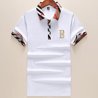 Burberry 2018 Summer Tide Half Sleeve Slim Polo Shirt Lapel Short Sleeve T-Shirt F-A00FS-GJ White