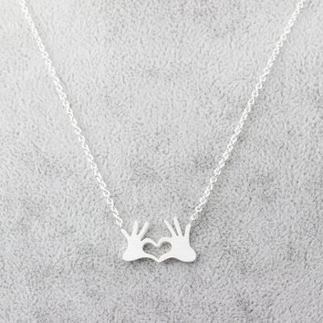 Unique Design OK Gesture Necklace Double Hand Love Heart Necklaces Pendants for Women Gold Statement Jewelry Gift