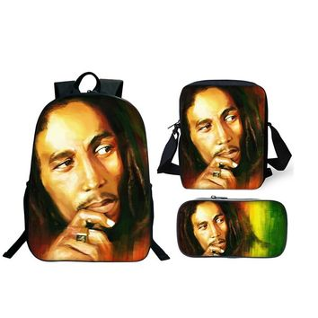 More Cheaper 3Pcs/Set Bob Marley School Bags 3D Fashion Backpacks For Boy Girls Casual Backpacks Sets Marley Funs Bag Best Gifts