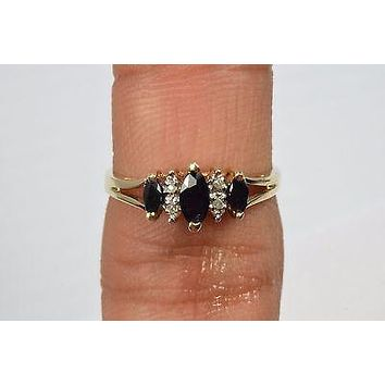 10k Yellow Gold .50 ct Sapphire & Diamond Cocktail Ring Marquise Blue Size 7 CI