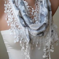 White - Grey Scarf with White Trim Edge