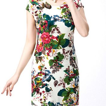 Streetstyle  Casual Elegant Round Neck Floral Printed Bodycon Dress