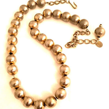 HOBE Beaded Necklace Silver Chain Metal Two Tone Dimensional Authentic Vintage