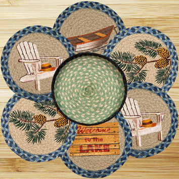 Welcome To The Lake Round Trivets in a Basket (Set of 7)