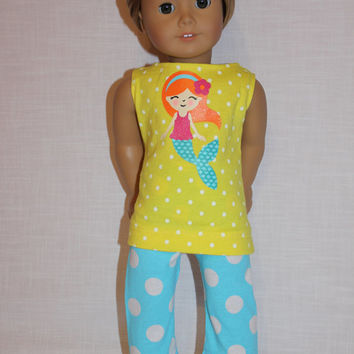 Mermaid print tank top, blue polka dot cropped length leggings,18 inch doll clothes, American Girl, maplelea