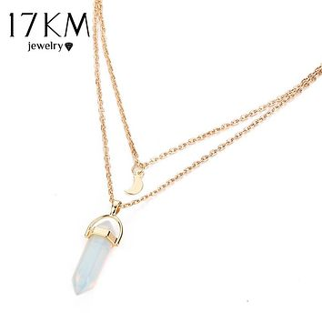17KM Opal Stone Moon Choker Necklaces Vintage 2017 New Fashion Multi Color Pendant Quartz Necklace for Women Boho Jewelry