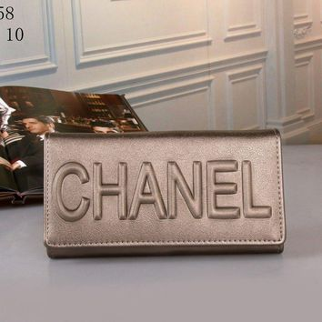 Chanel Simple Solid Color Letter Embossed Multifunction Women Purse Long Section Button Three Fold Wallet