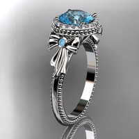 14kt  white gold diamond unique engagement ring,wedding ring ADER157 with blue topaz center stone