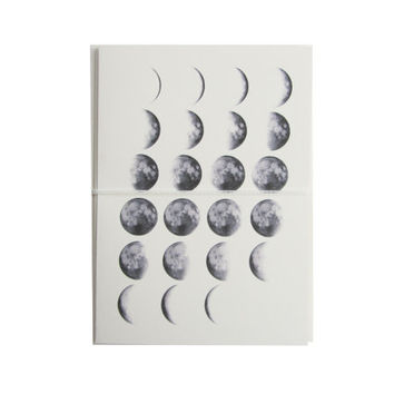 moon phase note cards. modern stationery. night, urban, purple. astronomy, cream, minimalist. four blank vanilla cards and envelopes