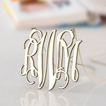 Nameplate monogram necklace--1.5 inch gold plated monogram jewelry--personalized present