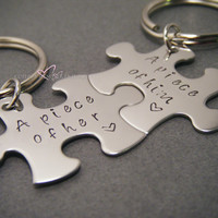 A piece of Him, A piece of her, Couples Keychains, Puzzle Piece Keychains,
