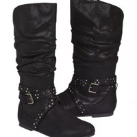 Slouchy Buckle Boots