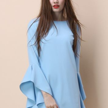 Ethereal Frilling Shift Dress in Blue