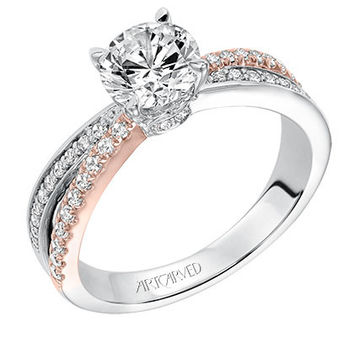 "Artcarved 0.33 Carat ""Mimi"" Bypass Two-Tone Diamond Engagement Ring in 14kt Rose and White Gold"