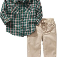 Old Navy Flannel Shirt And Pants Set For Baby