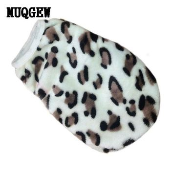 DCCKU7Q dog clothes for small dogs fleece Winter warm dog coat Clothes Leopard Pet Vest Clothing clothes dog shirt costume vetements