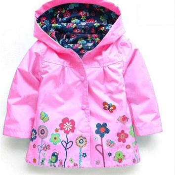 Toddler Girls Hooded Waterproof Raincoat Windbreaker Jacket