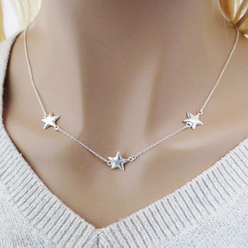 Solid, Sterling silver, Triple, Star, Silver, Necklace, Birthday, Friendship, Mom, Sister, Gift, Jewelry