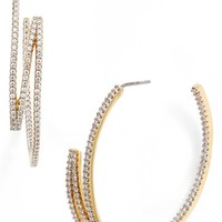Women's Rachel Zoe 'Melina' Pave Zigzag Hoop Earrings - Gold