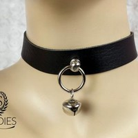 Medium Faux Leather Black Day Collar